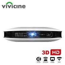 جهاز عرض Vivicine 1080p ثلاثي الأبعاد بدقة 4K ، يعمل بنظام الأندرويد وواي فاي وhdmi وusb عالي الدقة كمبيوتر صغير لعبة المسرح المنزلي والسينما Proyector بطارية 12000 mAh متعاطي المخدرات