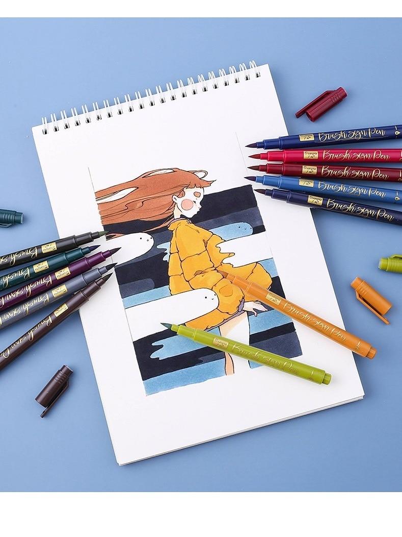 12 stücke Retro Farbe Kalligraphie Pinsel Zeichen Stifte Set für Zeichnung Aquarell Malerei Kunst Schriftzug Marker Schule Zu Hause DIY A6958
