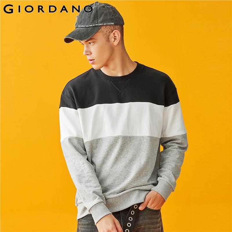 Giordano Men Sweatshirt Contrast Crewneck Pullover Long Sleeve Loose Fit Casual Tops Sudadera Hombre Cotton Blend 01029788