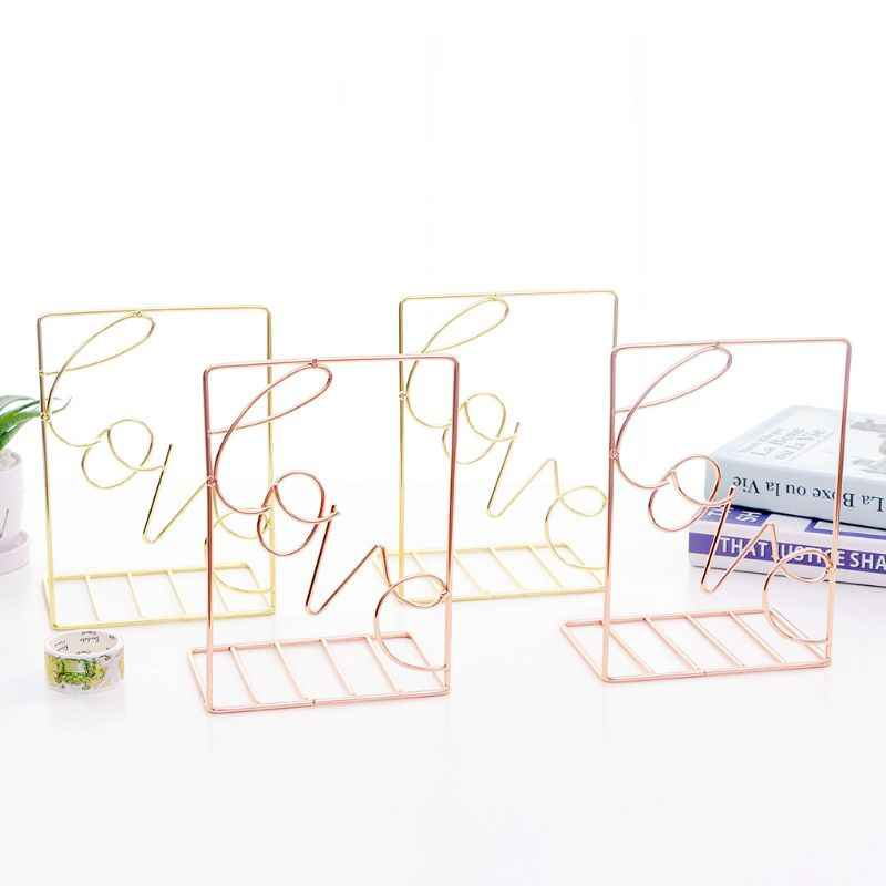 2 unids/par creativo amor en forma de sujetadores de Metal soporte de almacenamiento de escritorio estante organizador de libros