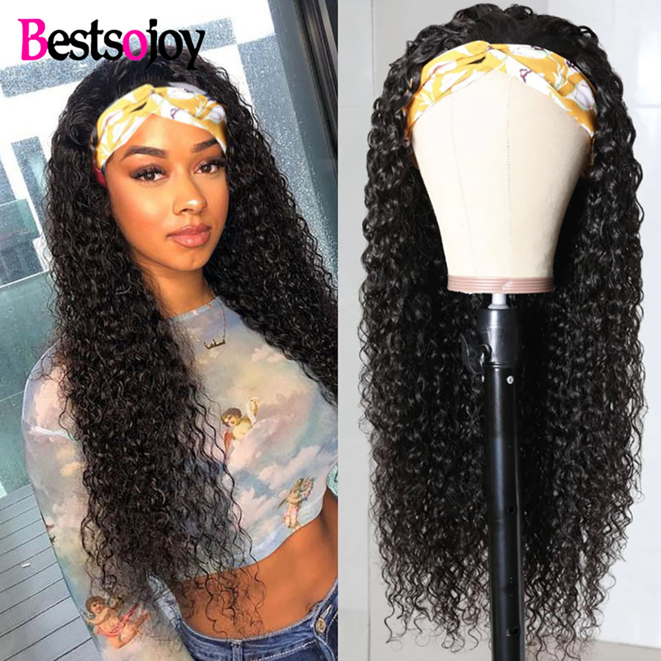 Bestsojoy Kinky Curly Headband Wig No Glue Brazilian Scarf Human Hair Wigs for Black Women Glueless Machine Made Wigs