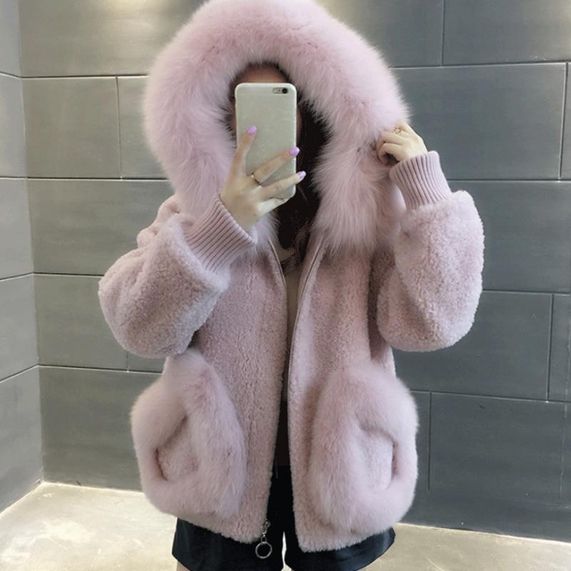 Women Winter Faux Fur Coat Woman Woolen Hooded Jacket