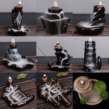 10Pc Incense Cones +Burners Creative Home Decor The Little Monk Small Buddha Censer Backflow Incense Burner Use In Home Teahouse backflow incense burner holder backflow censer ceramic little monk stick craft taoism incense cones chinese culture 60xl013