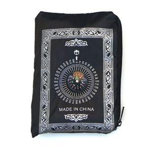 Image 2 - Alfombrilla para oración musulmana portátil a prueba de agua alfombra con brújula Vintage patrón islámico Eid decoración regalo bolsillo tamaño bolsa cremallera estilo