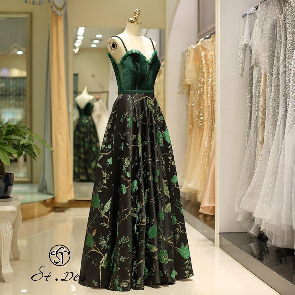 NEW 2020 St.Des A-line Strapless Sweat Heart Sleeveless Russian Green Beading Designer Floor Length Evening Dress Party Dress