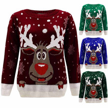 Cute Reindeer Round Neck T Shirt Women Fashion Christmas Harajuku Long Sleeve Sweatshirt  White Suitable All Seasons Tops