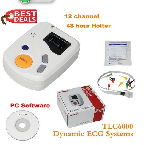 Dynamique TLC6000 48 heures 12 canaux ECG/EKG Holter moniteur Alalyzer enregistreur CONTEC fabrication CE FDA