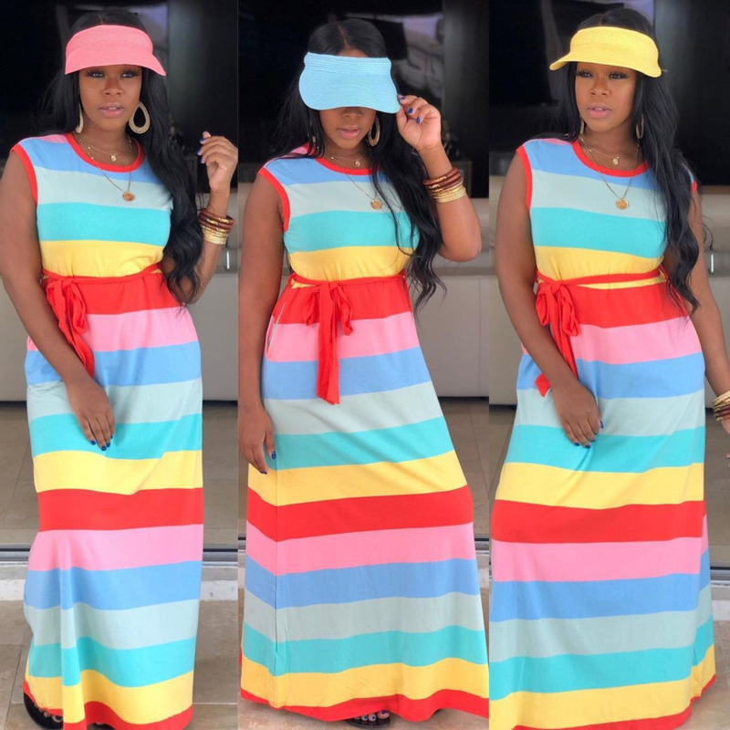 Rainbow Floor Length Long Dress Women Sashes Striped African Dresses For Women Casual Cotton Sleeveles Ladies Summer Dress 2020
