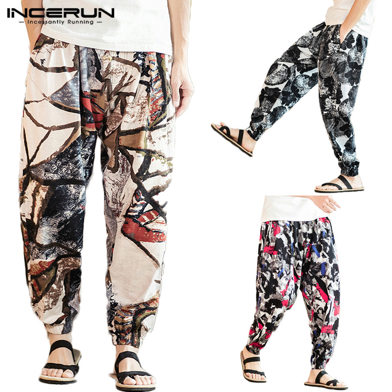 INCERUN Printed Men Harem Pants Joggers Cotton Linen Streetwear Loose Drawstring Fashion Casual Trousers Men Ethnic Pants S-5XL
