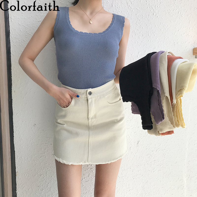 Colorfaith New 2020 Spring Summer Women Tops Solid Multi Colors Tank Sexy Basic Knitting Bottoming Wild Vest Lace Up Tops V6237