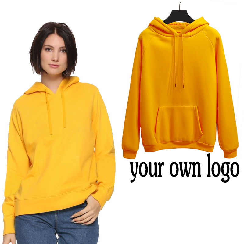 2019 Autumn Winter Your Own Logo Yellow Hoodie Girl Print Long Sleeve Kawayi Sweatshirt Street Woman Clothes Female Harajuku