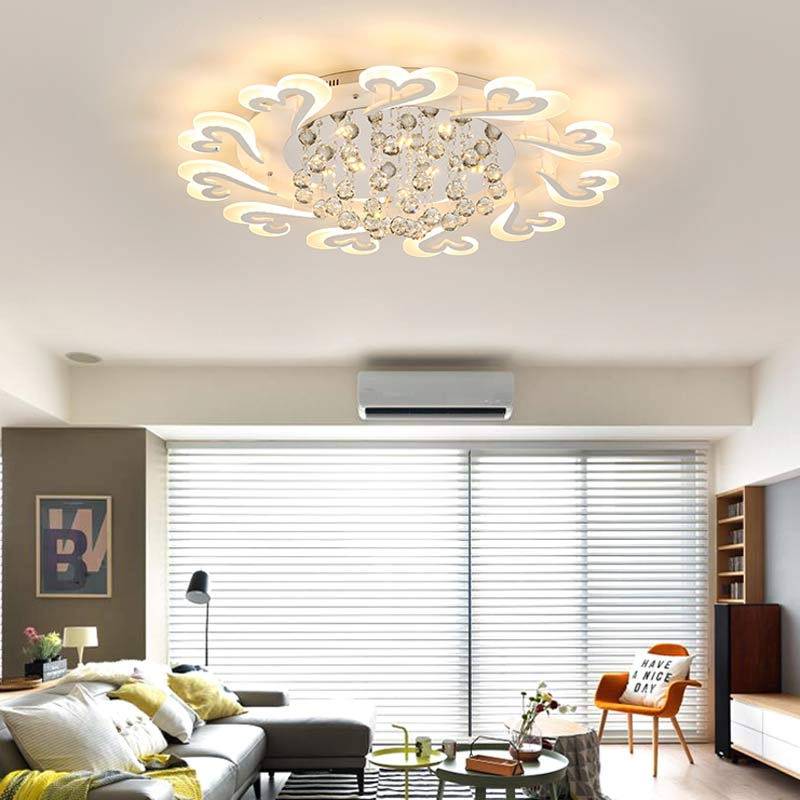 Crystal Led Chandelier Modern Living Room Lamp Bedroom Kitchen Indoor Lighting Home Decor Light Fixtures White Metal Lustre