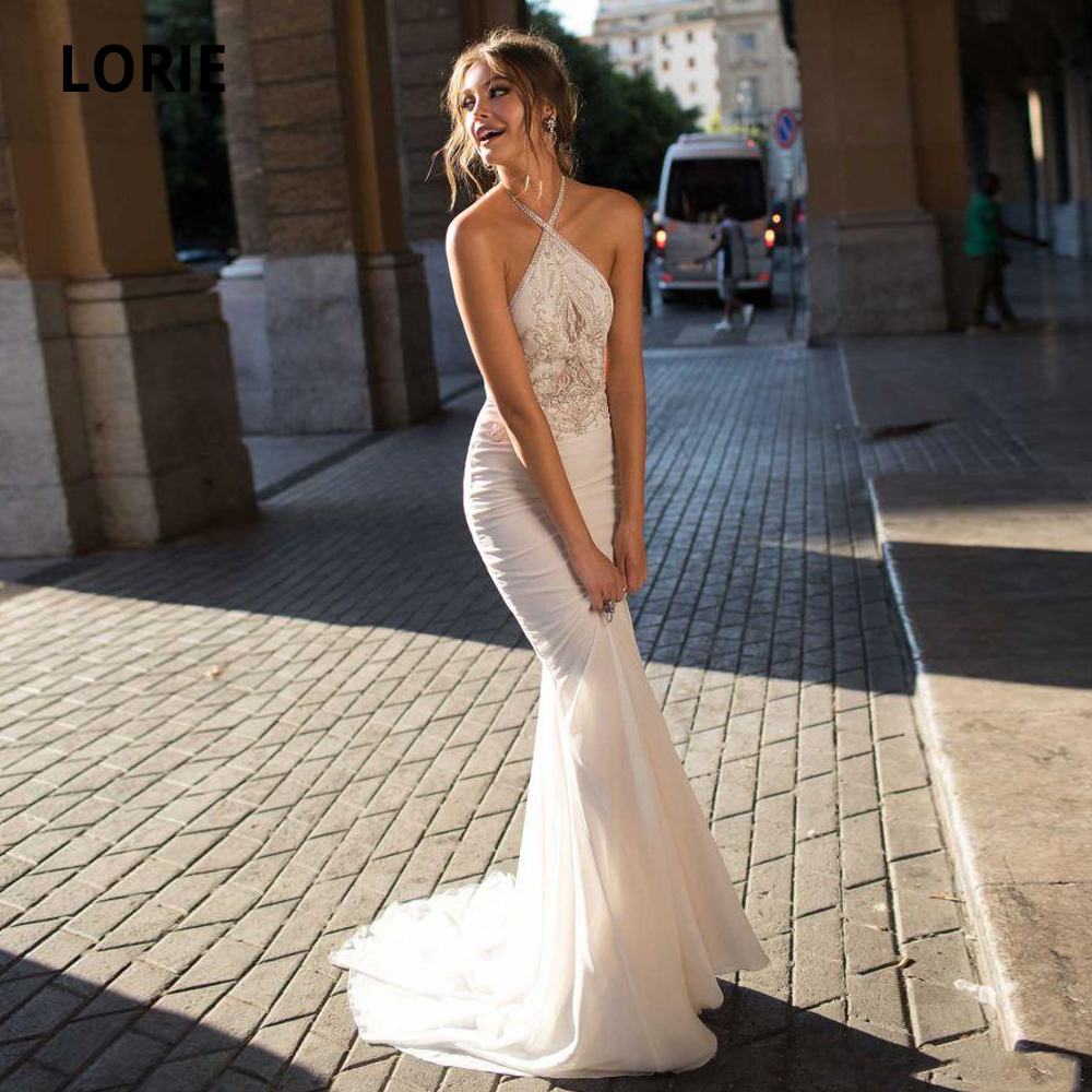 Booma Chiffon Beaded Wedding Dresses Mermaid Bohemian Halter Neck Beach Bridal Gowns Cheap Wedding Party Dress With Train
