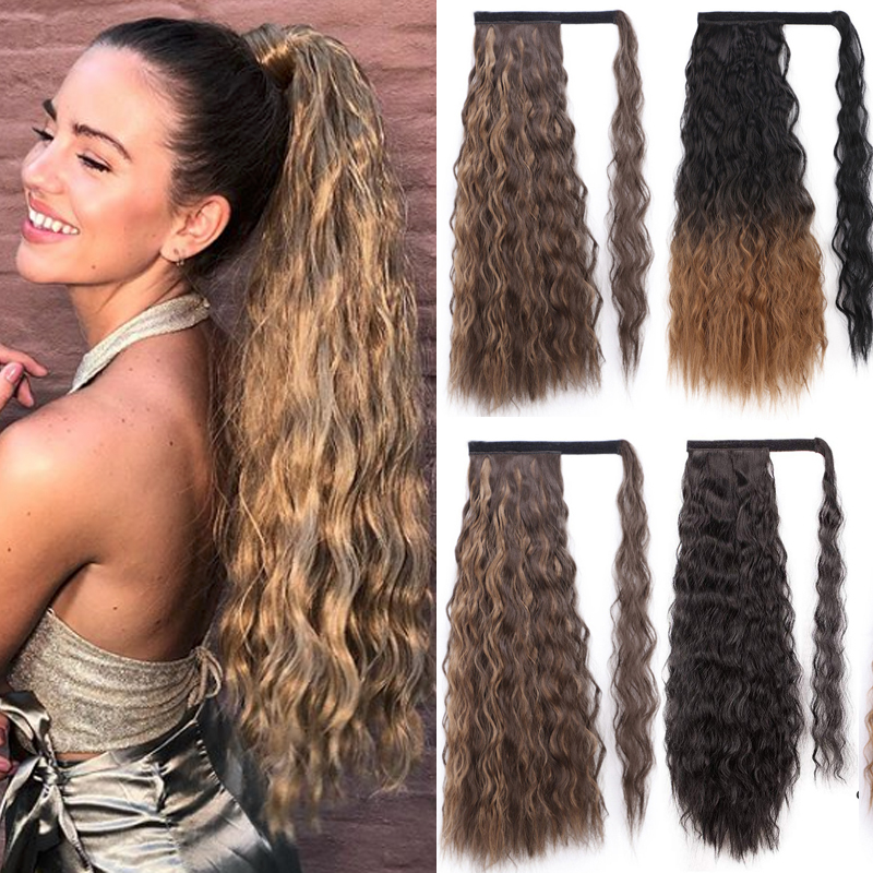 WERD Curly Long Ponytail Synthetic Hairpiece Wrap On Clip Hair Extensions Ombre Brown Pony Tail Blonde Hair