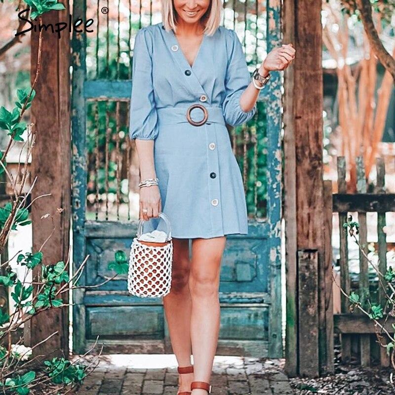 Simplee Casual V-neck Women Autumn Dress Elegant Button Sash Belt Female Cotton Dress Long Sleeve Ladies Vintage Mini Dress 2019