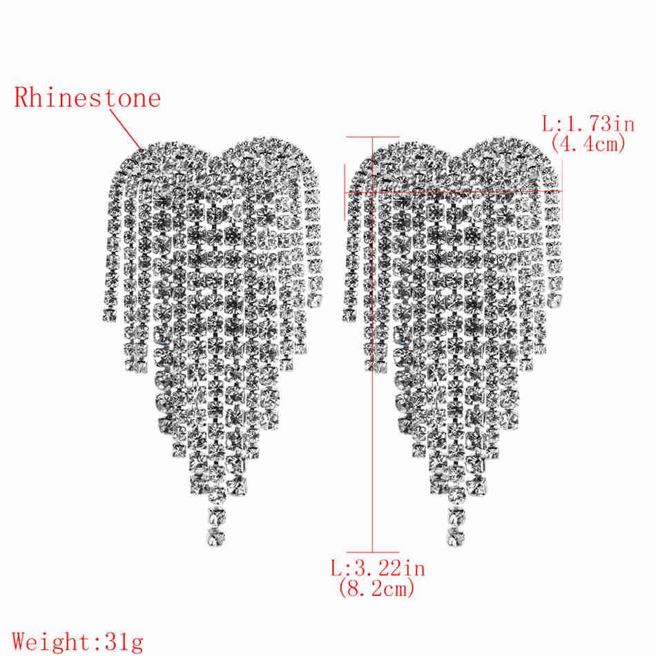 Minlover Siver Gold Color Bride Wedding Drop Earrings for Women Rhinestone Heart Shape Tassel Dangle Earring Prom Jewelry EH1248 in Drop Earrings from Jewelry Accessories