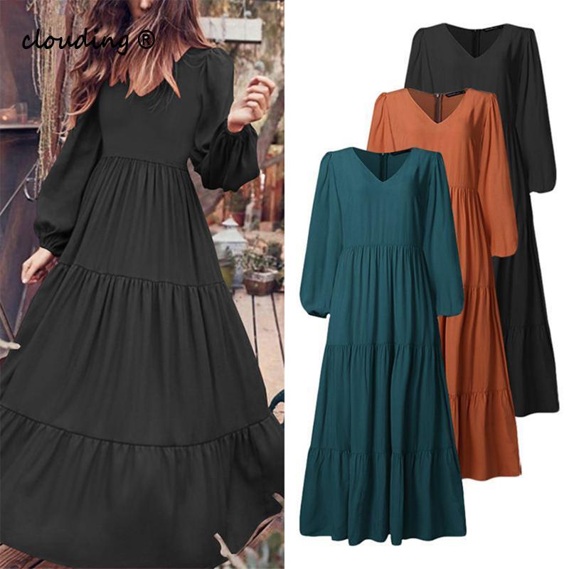 Frauen Kleid Chiffon Casual Langarm Lose Gefaltete Kleid S-5Xl Große Größe Vestidos Weiblichen Rüschen Splice Elegante Retro Boho Kleid