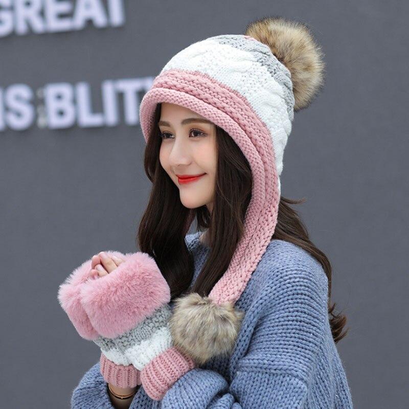 Calymel 2019 Women Beanies Wool Ball Winter Hat Keep Warming Acrylic шапка женская Bonnet Fashion Knitted Cap Ears Protector 30