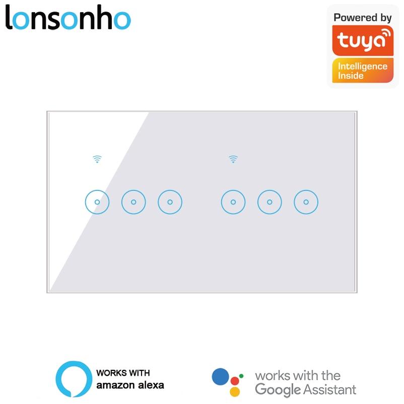 Lonsonho WiFi Smart Switch Tuya EWeLink 4 5 6 Gang Glass Touch Panel Wall Switch Wireless Control Alexa Google Home Compatible