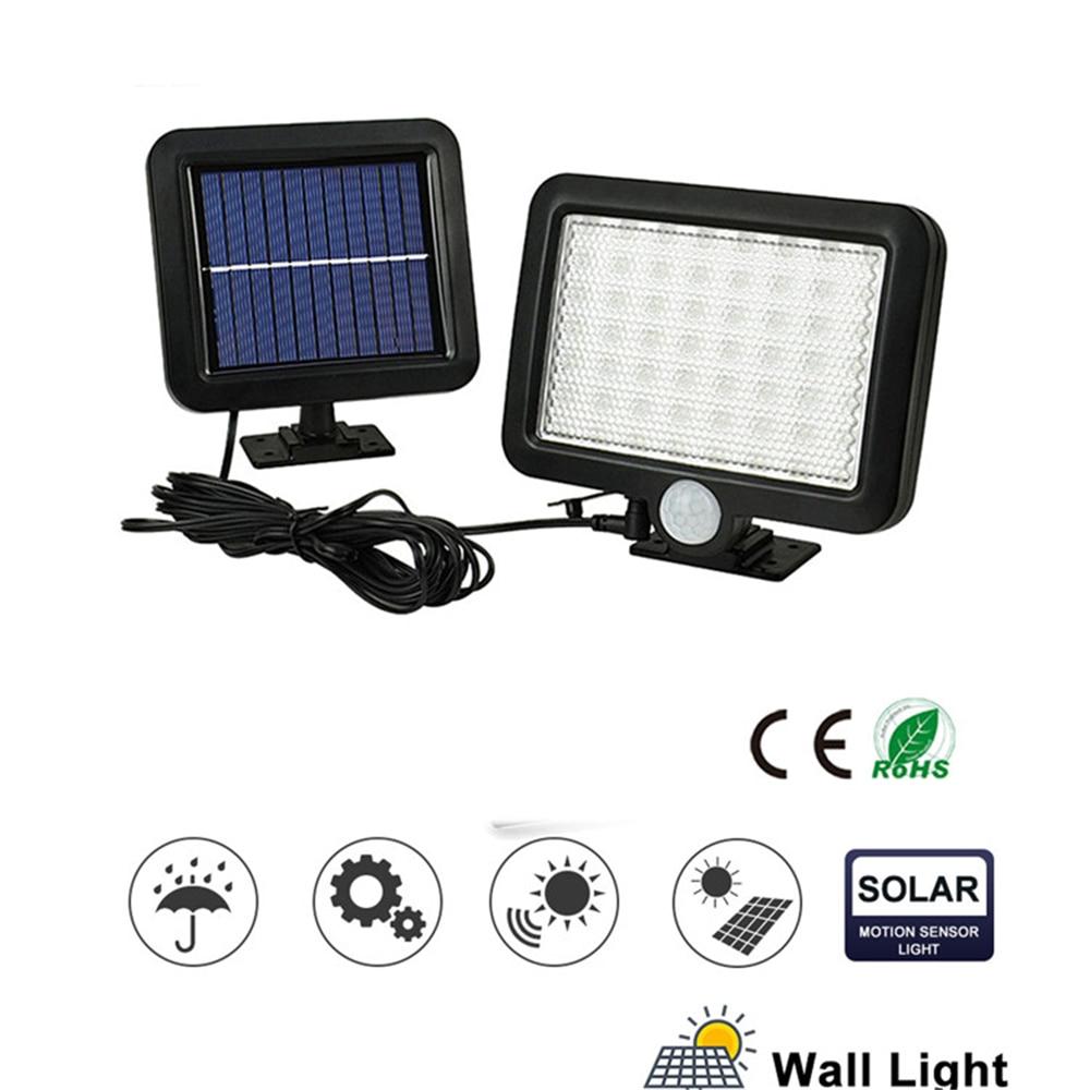 Lámpara Solar con detección de movimiento LED 56/30 para pared de jardín al aire libre con línea de luz de energía Solar Separable 3 modos de trabajo inteligentes sp