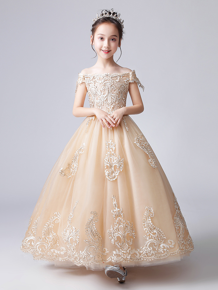 Girls Evening Dress CHILDREN'S Piano Costume Small Host Catwalks Puffy Yarn Flower Boys/Flower Girls Wedding Dress Princess Dres