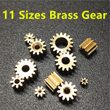 11 Sizes Brass Shaft Gears Metal Motor Teeth Copper Axis Gears Sets 1mm 2mm Hole Diameter DIY Helicopter Robot Toys Dropshipping