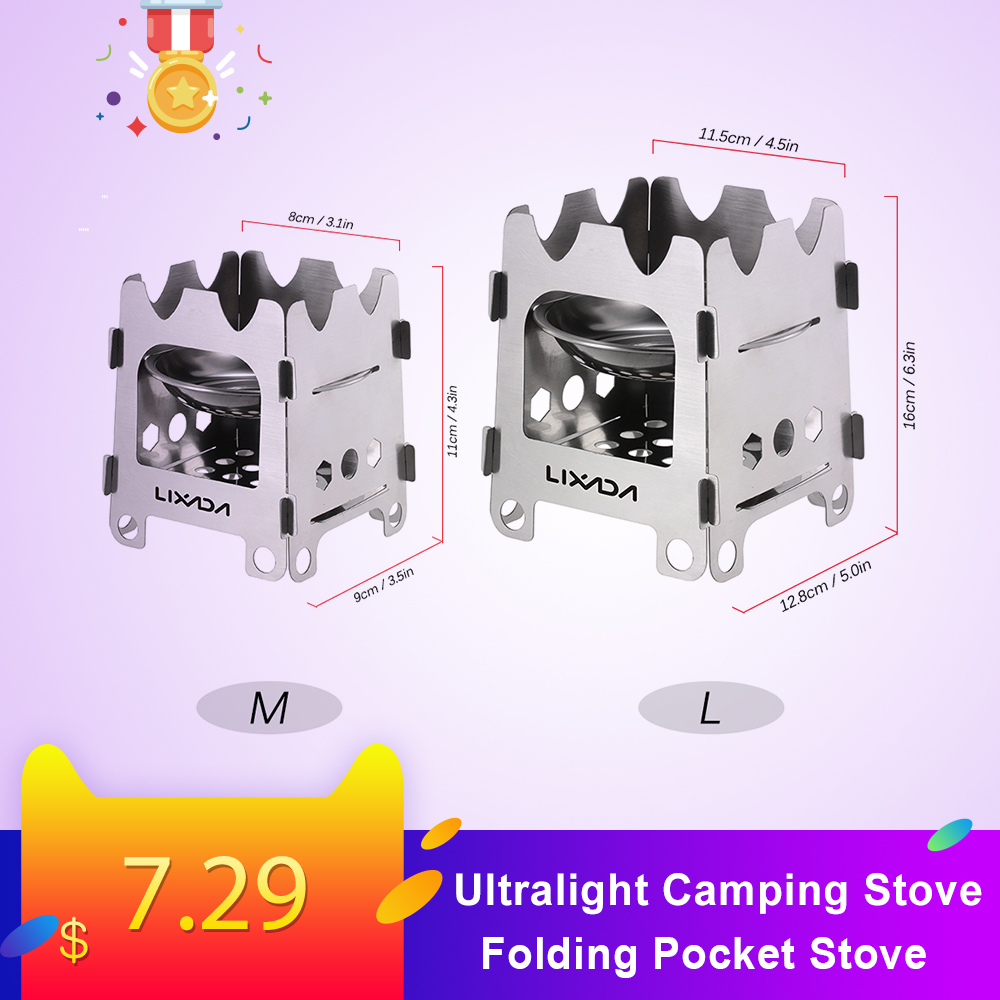 Lixada Titanium Stainless Steel  Camping Stove Portable Ultralight Folding Wood Stove Pocket Stove Camping Fishing Hiking