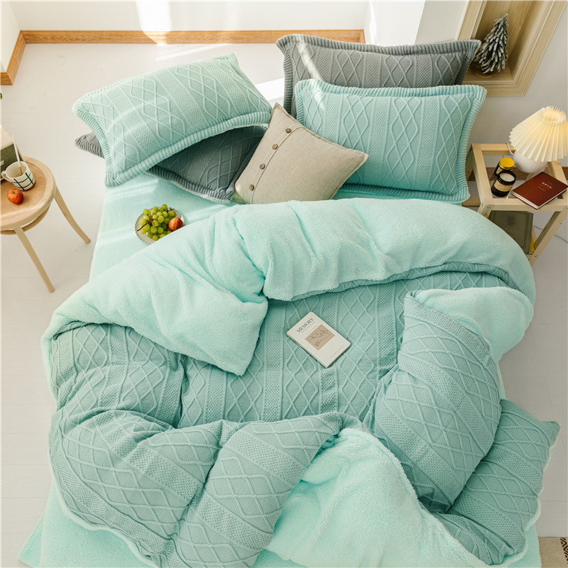 Heavyweight Warm Knitted Duvet Cover Set Pink Green Grey 4Pcs Luxury Soft Warm Solid Bedding Set For Winter King Queen Size