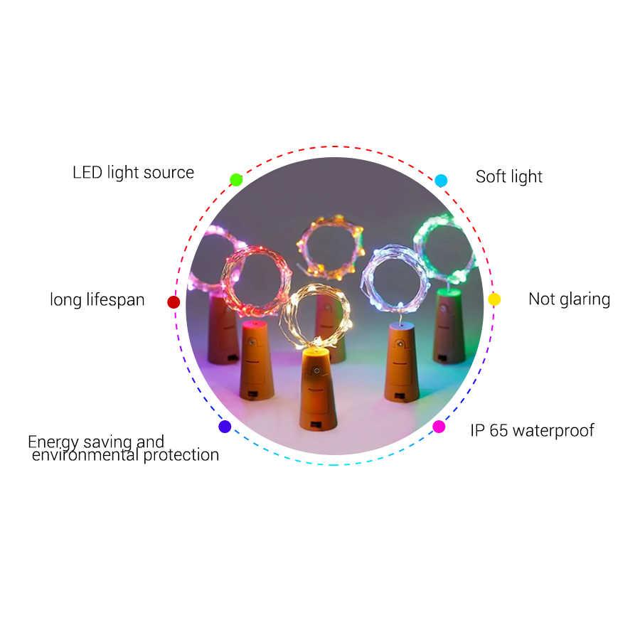 بطارية تعمل بالطاقة جارلاند النبيذ إضاءة علي شكل الزجاجة مع الفلين 2 متر 20 LED الأسلاك النحاسية الملونة الجنية أسلاك إضاءة للأماكن الخارجية للديكور حفل زفاف