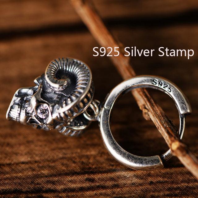 ORIGINAL 925 STERLING SILVER SKULL HORN RING
