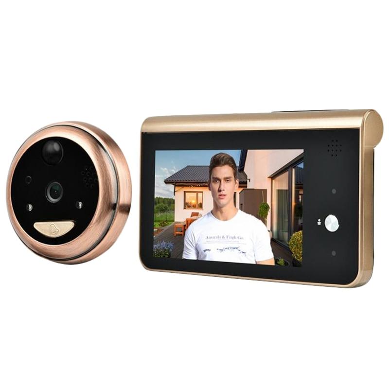 4.3 pouces moniteur vidéo judas Wifi sonnette caméra PIR détection de mouvement sans fil interphone porte cloche anneau appel