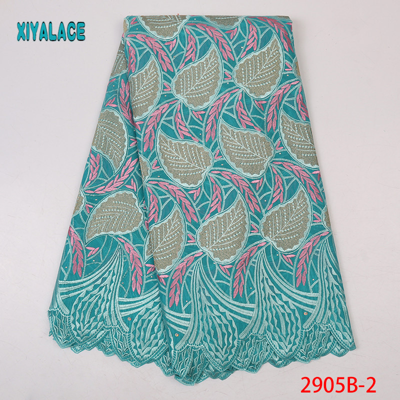 Latest African Laces 2019 Swiss Voile Lace In Switzerland Cotton Swiss Lace Fabric For Voile Lace Women Dress 5yards YA2905B-2