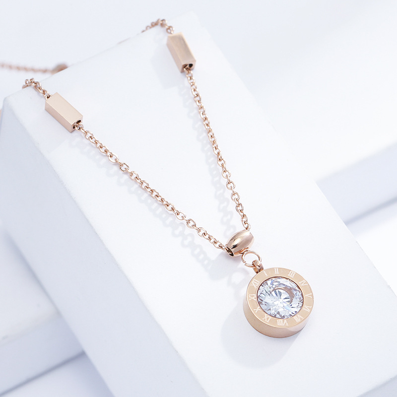 Stainless Steel Roman Numerals Gold Necklace Circle With Crystal Stone Pendant Clavicle Chain Necklace for Women Classic Jewelry