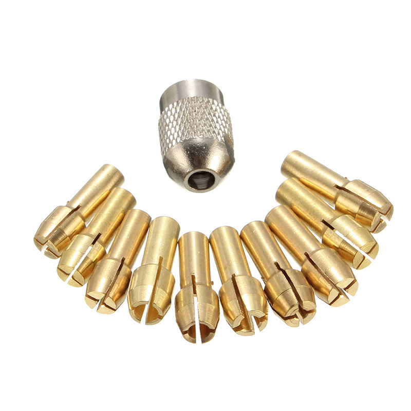 10Pcs Brass Drill Chuck Collet Bits For Rotary Tool 0.5-3.2mm 4.3mm Shank 94PC