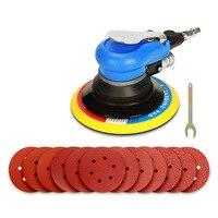 150mm 6 Polegada lixadeira de ar orbital palma aleatória dupla ação ferramentas moedor ar comprimido + 12 pcs disco lixa papel eua plug