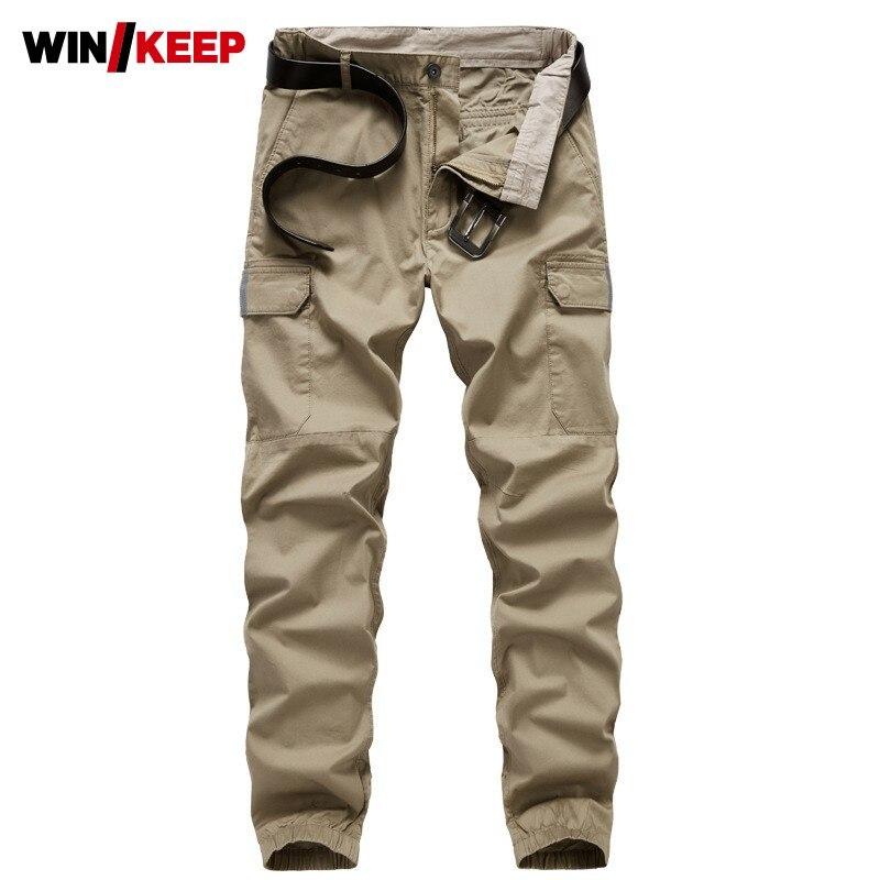 2019 New Mens Multi-pockets Cargo Pants Elastic Waist Long Hiking Pants Straight Joggers Sweatpants Trekking Trousers Plus Size