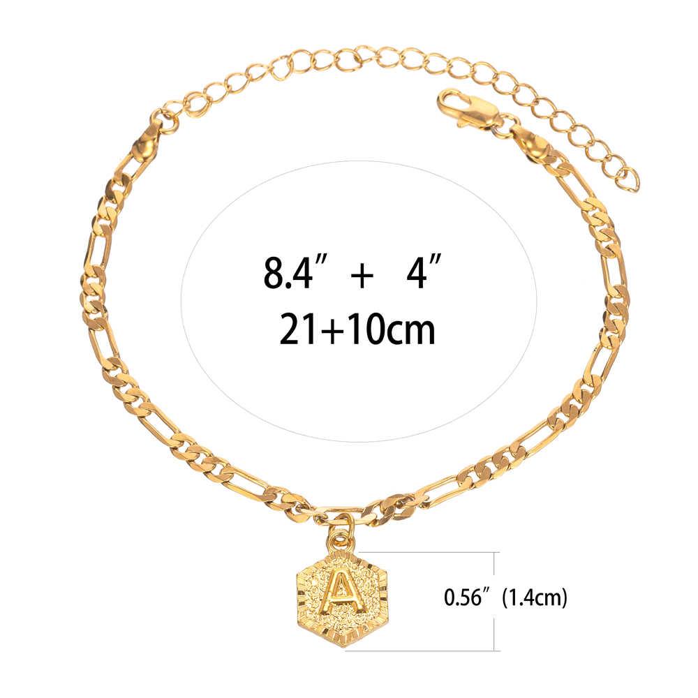 Цепочка Figaro начальный очаровательный ножной браслет для женщин Модный золотой браслет с буквенным алфавитом бижутерия для ног с расширением