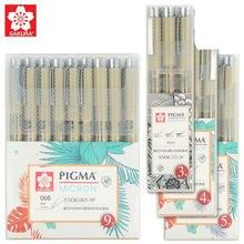 Sakura xsdk 005/01/2/3/4/5/8/1. caneta de desenho com agulha multicolorida, conjunto de caneta fina micron de pigma, itens de arte de esboço