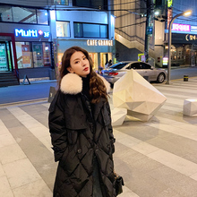 FTLZZ Winter Women Real Fur Collar Hooded Long Down Coat Double Breasted 90% White Duck Down Parka Loose Windebreaker with Belt