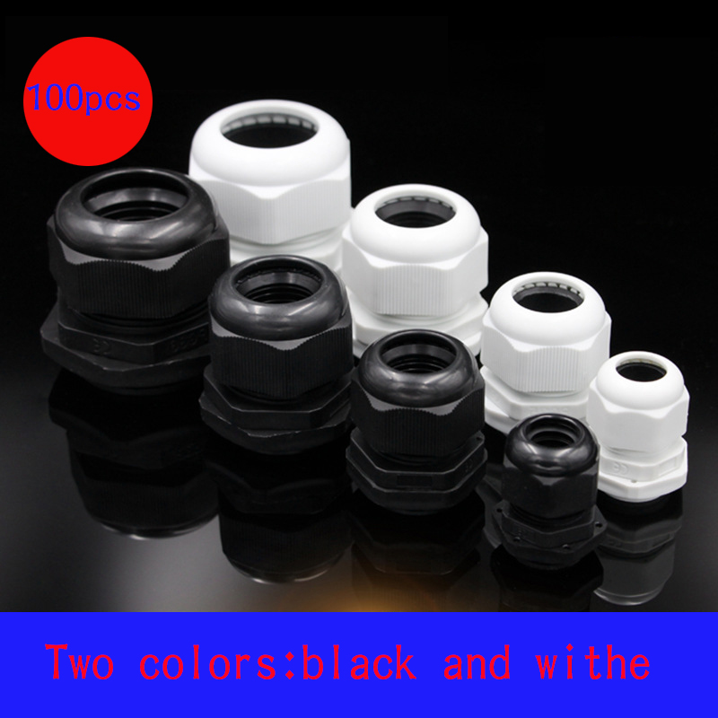 100pcs Waterproof Cable Gland White Black PA Cable Entry IP68 PG7 For 3-6.5mm PG9 PG11 PG13.5 PG16 Plastic Connector