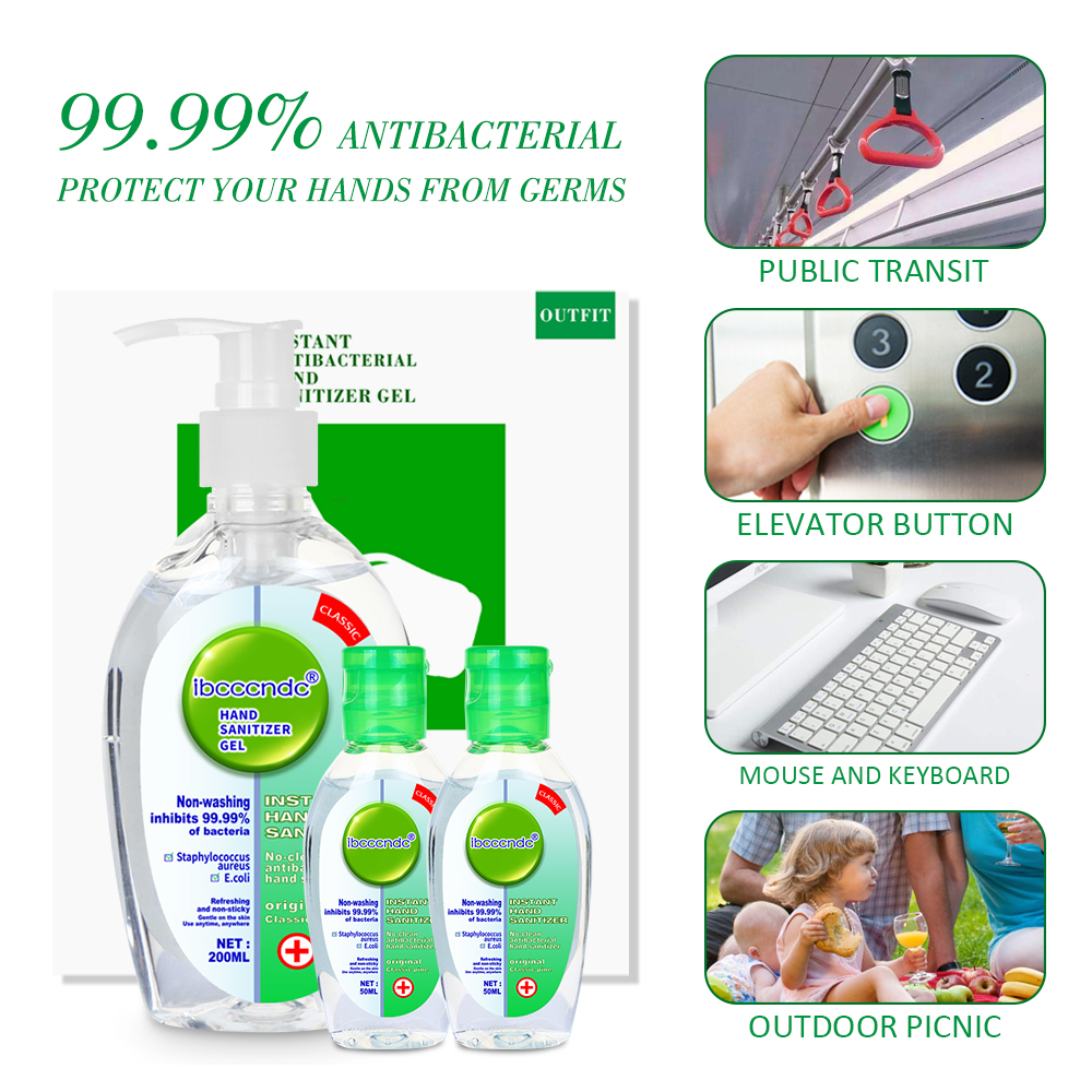 200ml+2pcs 50ml Anti Bacterial Waterless Hand Sanitizer Hand Disinfection Gel No-clean Quick-Dry Disposable Handgel 75% Ethanol