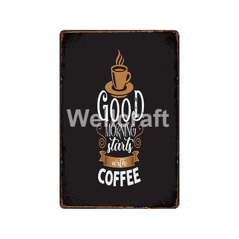 [ WellCraft ] Custom Coffee quote metal signs Funny cafe Decor  LT-1924