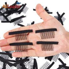 Alileader atacado poliéster durável pano peruca pentes para hairpiece 12 pçs preto peruca clipes para extensões de cabelo peruca acessórios