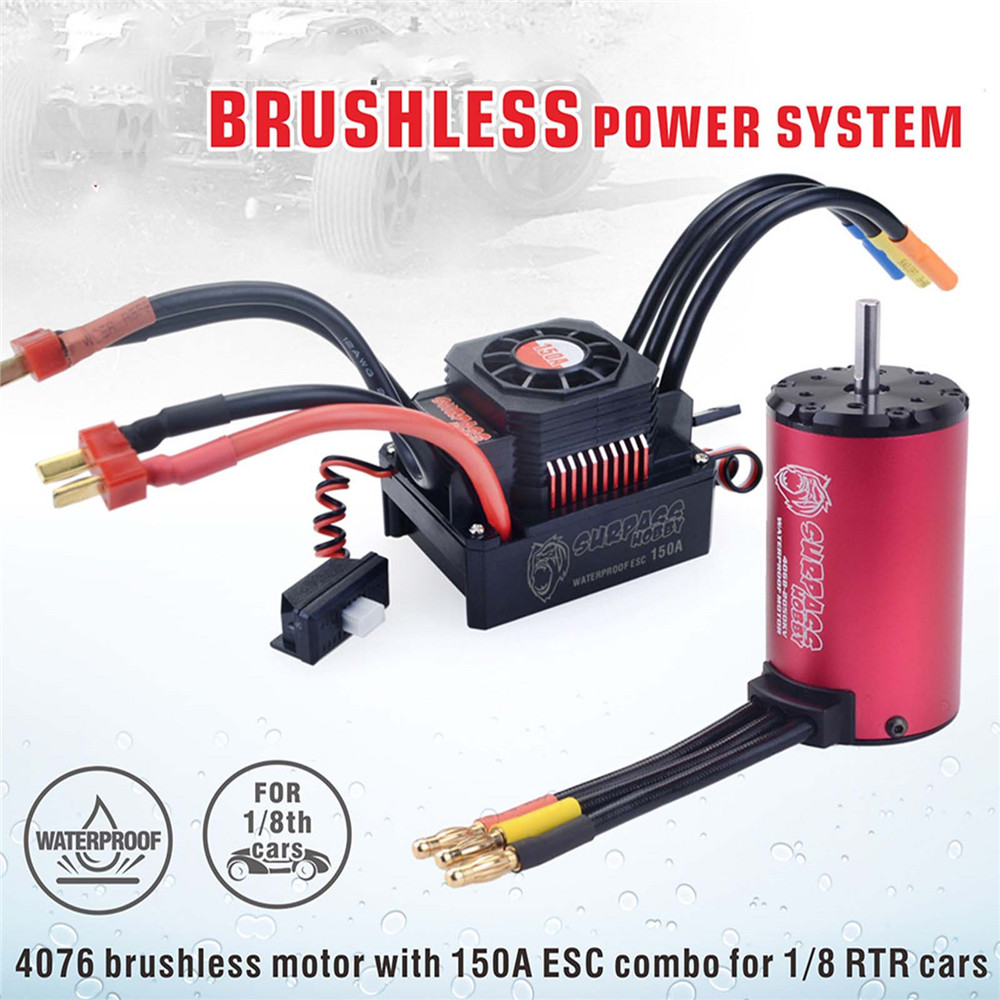 Waterproof 4076 <font><b>2000KV</b></font> Brushless <font><b>Motor</b></font> 150A ESC Electric Speed Controller for 1:8 RC Car Upgrade Parts image