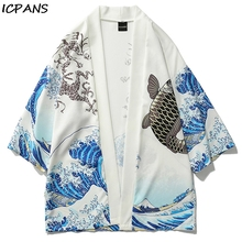ICPANS 2019 Mens Japan Style 3/4 Sleeve Casual Streetwear Coats Japanese Crane Printed Kimono Cardigan Jackets  Fashion Outwear