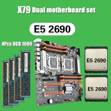Kllisre X79 двойной процессор Материнская плата с 2 × Xeon E5 2690 4 × 8 ГБ = 32 Гб 1600 МГц DDR3 память ECC Reg