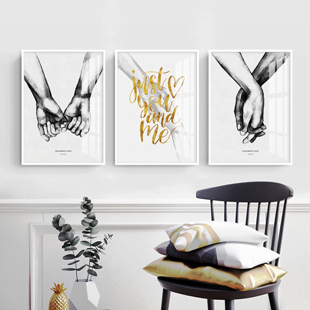 Black And White Hand Drawing Love Canvas Painting Poster And Print Wall Pictures For Living Room Bedroom Decor tableau mural