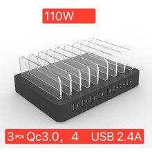 110 ワット 8 ポートマルチ Usb 充電 qc 3.0 2.4A iphone × 11 Ipad 急速充電 USB デスクトップステーション dock ブラケットサムスン S10