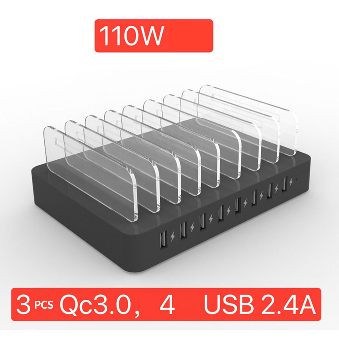 110W 8 Ports Multi USB Charger QC 3.0 2.4A for IPhone X 11 Ipad Fast Charging USB Desktop Station Dock Bracket for Samsung S10|Mobile Phone Chargers| |  - title=