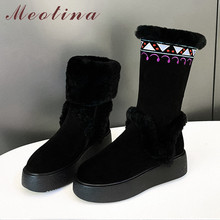 Купить с кэшбэком Meotina Winter Real Fur Snow Boots Women Cow Suede Flat Platform Mid Calf Boots Warm Plush Zipper Shoes Ladies Black Size 34-39